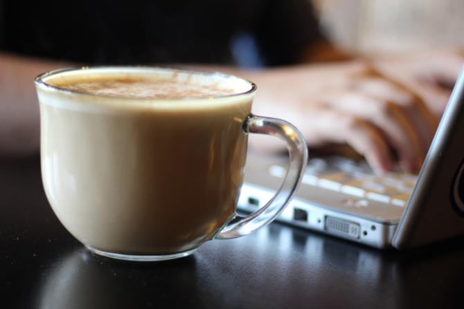 Filing your taxes online means coffee shop stops.